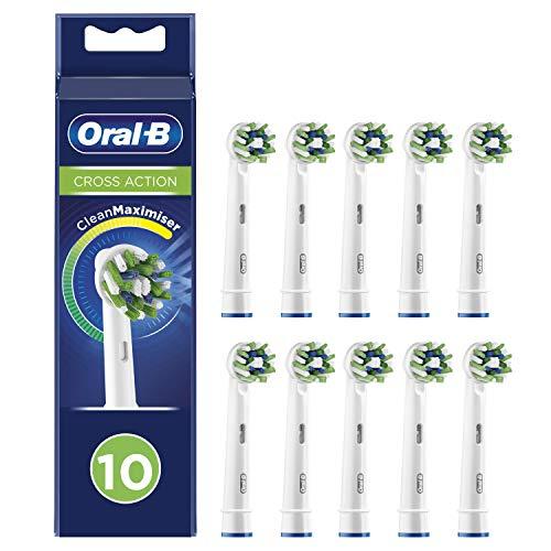 Oral-B CrossAction Testine di Ricambio per Spazzolino Elettrico con Tecnologia CleanMaximiser, Confezione da 10 Pezzi, Pacco Adatto alla Buca delle Lettere
