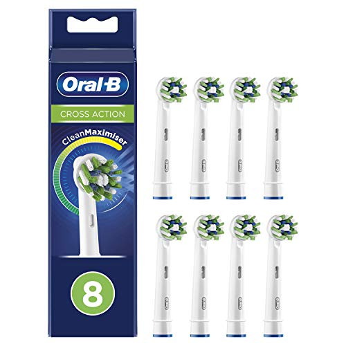 Oral-B CrossAction Testine di Ricambio per Spazzolino Elettrico con Tecnologia CleanMaximiser, Confezione da 8 Pezzi, Pacco Adatto alla Buca delle Lettere