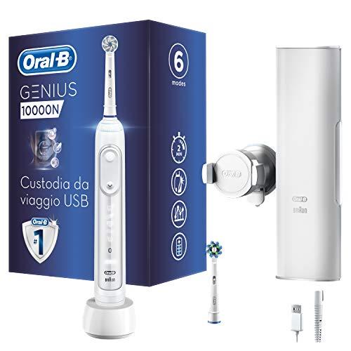 Oral-B Genius 10000N Spazzolino Elettrico Ricaricabile con 1 Manico Bianco Connesso, 6 Modalità tra cui Sbiancante e Denti Sensibili, 2 Testine di Ricambio, 1 Custodia da Viaggio Smart