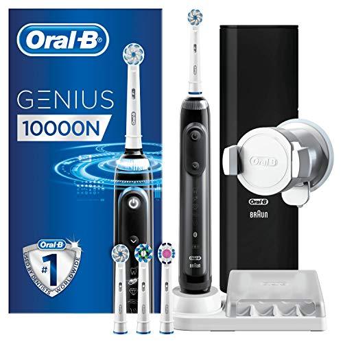 Oral-B Genius 10000N Spazzolino Elettrico Ricaricabile Nero, 4 Testine, Custodia da Viaggio USB, Supporto per Smartphone, 6 Modalità di Spazzolamento tra cui Pro-Clean,Pulizia Profonda
