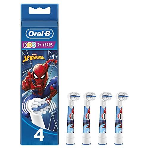 Oral-B Kids Testine di Ricambio per Spazzolino Elettrico con Personaggi Marvel Spider-Man, Confezione da 4, Testina Pensata Appositamente per i Bambini, dai 3 Anni in Su