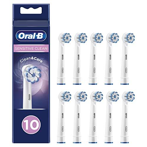 Oral-B Sensitive Clean, Testine di Ricambio per Spazzolino Elettrico, Compatibile con tutti gli spazzolini Oral-B, tranne Pulsonic e iO, Confezione da 10 Pezzi