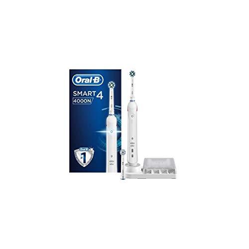 Oral-B Smart 4 4000N Spazzolino Elettrico Ricaricabile, 1 Spazzolino Bianco Connesso con Bluetooth, 2 Testine di Ricambio