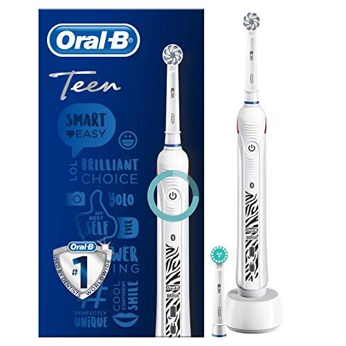 Oral-B SmartSeries Teen Sensi Ultrathin Spazzolino Elettrico Ricaricabile per Adolescenti con 1 Manico e 2 Testine di Ricambio, Bianco