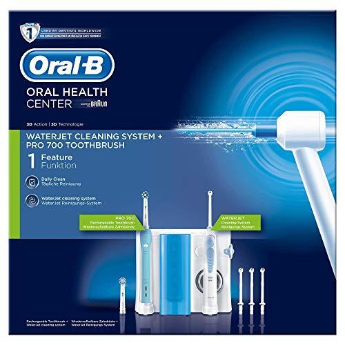 Oral-B Waterjet Sistema Pulente Idropulsore e Spazzolino Elettrico Ricaricabile PRO 700 con 4 Testine Waterjet e 2 Testine di Ricambio per Spazzolino