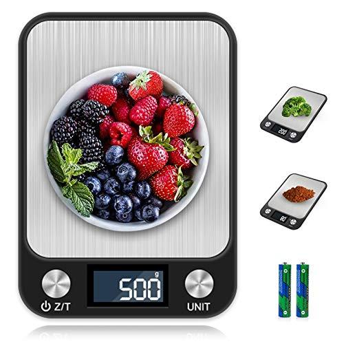 otumixx Bilancia da Cucina Digitale, 10kg/22lb Acciaio Inossidabile Bilancia Cucina 7 unità di Conversione, Funzione Peeling, Spegnimento Automatico, Display LCD Precision Bilancia da Cucina - Nero