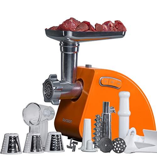 Oursson Tritacarne Elettrico con 3 funzioni di tritatura, 1 accessorio per le salsicce, 1 accessorio per il kibbeh, 1 dispositivo per i pomodori, 1500 W, protezione dal surriscaldamento (Arancione)