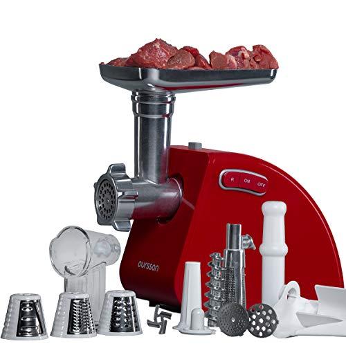 Oursson Tritacarne Elettrico con 3 funzioni di tritatura,1 accessorio per le salsicce,1 accessorio per il kibbeh, dispositivo per i pomodori,1500 W (Rosso)