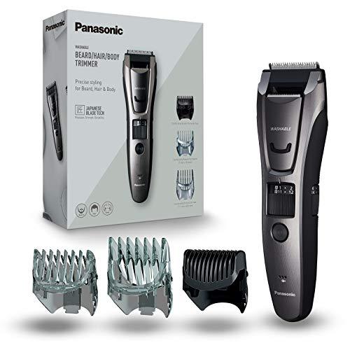 Panasonic ER-GB80-H503 Regolabarba e Tagliacapelli per la Cura di Barba, Capelli e Corpo, Taglio 1-20 mm, Lame in Acciaio Inox, 3 Pettini accessori, Lavabile, Grigio Titanio