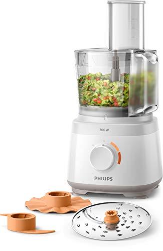 Philips HR7310/00 Robot da Cucina Multifunzione con Oltre 16 Funzioni, Disco 2-in-1 in Acciaio Inox, 700 W, 2.1 Litri, 80 Decibel, Plastica, Bianco