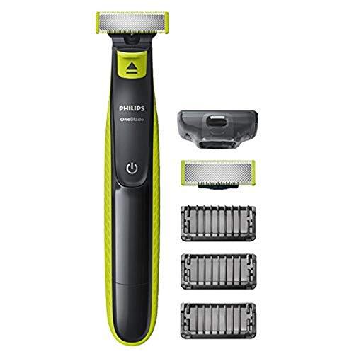 Philips QP2520/30 OneBlade Rade, Regola e rifinisce la barba di qualsiasi lunghezza, 3 Pettini Regolabarba + 1 Lama di Ricambio