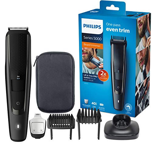Philips Regolabarba BT5515/15, 40 Diversi Look, 0.4-20 mm, Rasoio di Precisione, Livello di Carica, Lame in Metallo Autoaffilanti, Nero