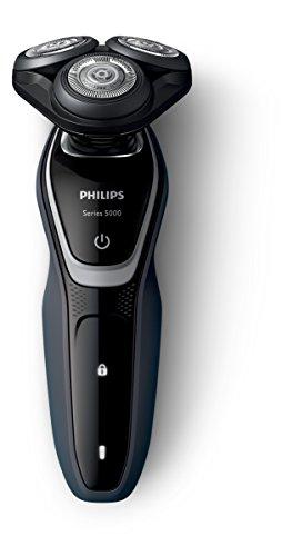 Philips S5110/06 Series 5000 Rasoio Elettrico con Lame MultiPrecision, Testina Flex 5 Direzioni + Rifinitore Precisione, Batteria, Nero, 2015