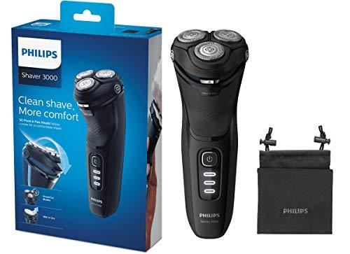 Philips Series 3000 S3233/52 - Rasoio elettrico a secco e bagnato con lame PowerCut e rasoio di precisione pieghevole