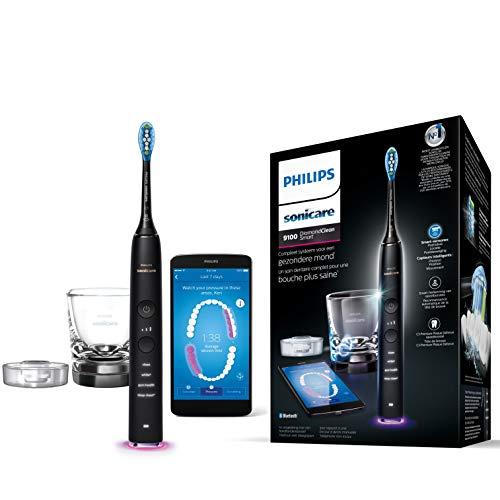 Philips Sonicare DiamondClean Smart HX9901/13 - Spazzolino elettrico sonico con 4 programmi di pulizia, vetro di ricarica, colore: Nero
