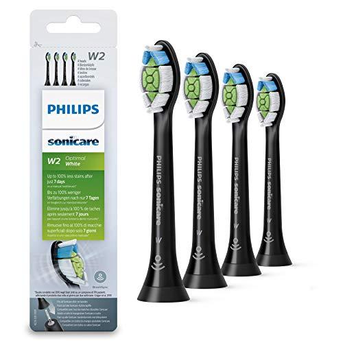 Philips Sonicare HX6064/11 Pack da 4 Testine di Ricambio W2 Optimal White Standard per Spazzolino Elettrico Sonico, con RFID, Per Denti Bianchi, Nero