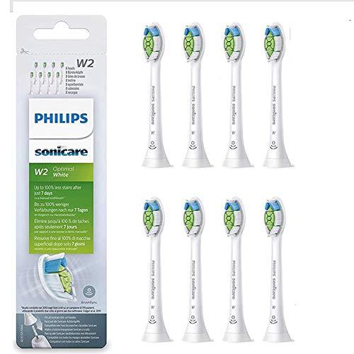 Philips Sonicare HX6068/12 Pack da 8 Testine di Ricambio W2 Optimal White Standard per Spazzolino Elettrico Sonico, con RFID, Per Denti Bianchi, Bianco