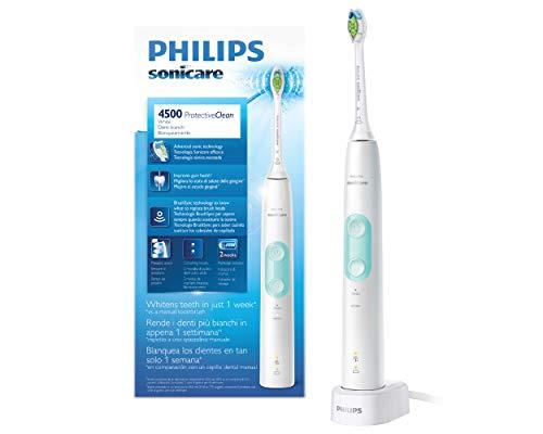 Philips Sonicare HX6837/24 ProtectiveClean 4500 Spazzolino Elettrico con Tecnologia Sonica, 2 Modalità d Pulizia, Bianco