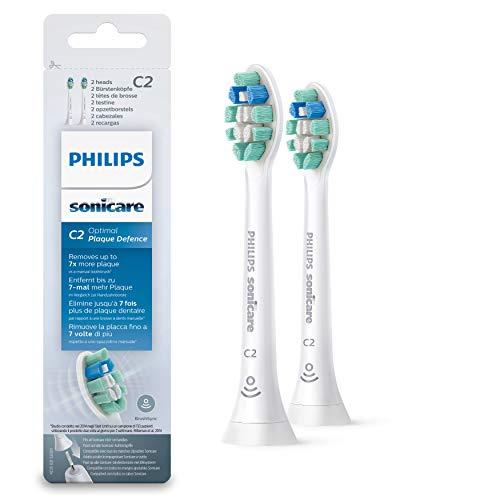 Philips Sonicare HX9022/10 Pack da 2 Testine di Ricambio C2 Optimal Plaque Defence per Spazzolino Elettrico Sonico, con RFID, Per una Pulizia Profonda, Bianco