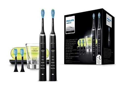 Philips Sonicare HX9354/38 DiamondClean, Spazzolino Elettrico con Tecnologia Sonicare, 5 Programmi di Pulizia, Include 2 Manici Neri