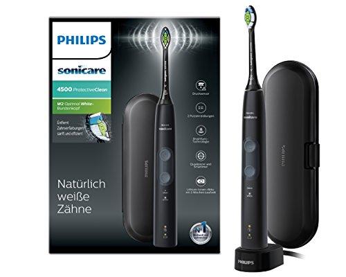 Philips Sonicare ProtectiveClean 4500 HX6830/53 - Spazzolino elettrico sonico con 2 programmi di pulizia, controllo della pressione, Timer e custodia da viaggio, Nero