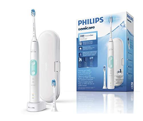 Philips Sonicare ProtectiveClean HX6857/17 - Spazzolino elettrico con sensore di pressione, tecnologia BrushSync, 3 modalità di pulizia con 2 testine e custodia da viaggio, colore: Bianco