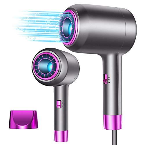 Phone per Capelli, Asciugacapelli Professionale con Mezzo Nucleo Cavo Centrale per Tecnologia a Ioni Negativi Blu-ray, 1250W, 3 Temperature e Cavo da 2m