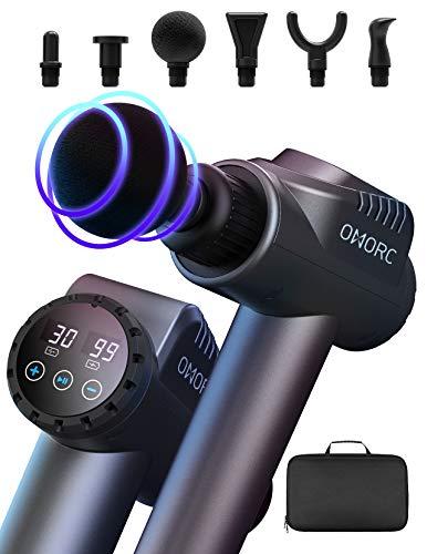 Pistola Massaggio Muscolare, OMORC 30 Velocità Massaggiatore a Percussione Professionale Wireless, Super Silenzioso 3200 RPM Massaggiatore Portatile Elettico per Muscoli, 6 Testine
