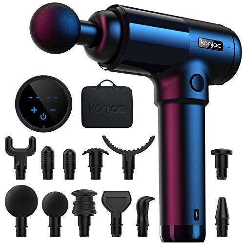 Pistola per Massaggio Muscolare konjac, 30 Velocità Massage Gun Super Silenziosa Portatile Elettico per Muscoli Regolabile con Touchscreen LCD e 12 Testine