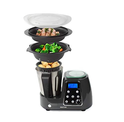 PRIXTON - Robot da Cucina Multifunzione Programmabile: Frulla, Frusta, Trita, Cuoce al Vapore, Frigge/Include Bilancia, Ricettario e Accessori, Acciaio Inox | Kitchen Gourmet KG200