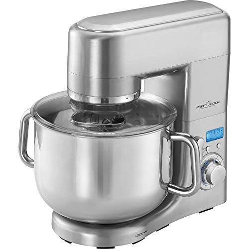 ProfiCook PC-KM 1096 XXXL Robot da cucina, Coppa in acciaio inossidabile da 10 litri, Alloggiamento in alluminio pressofuso, Display LCD, 1500 watt, Acciaio inossidabile