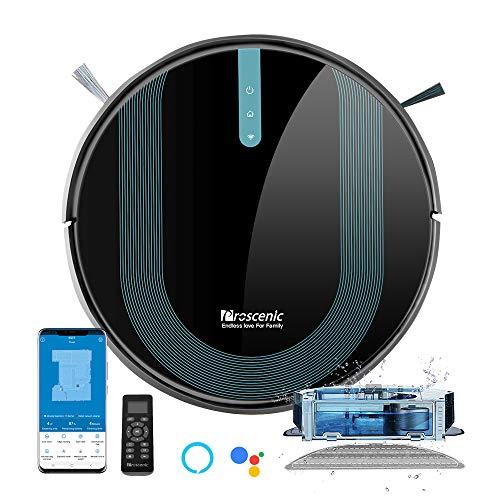 Proscenic 850T Robot Aspirapolvere Lavapavimenti, Aspirazione Potenza 3000Pa Controllo APP & Alexa, Serbatoio Acqua Elettrico 2-In-1 per Pulizia Domestica/Peli Animali/Capelli/Polvere/Lavapavimenti