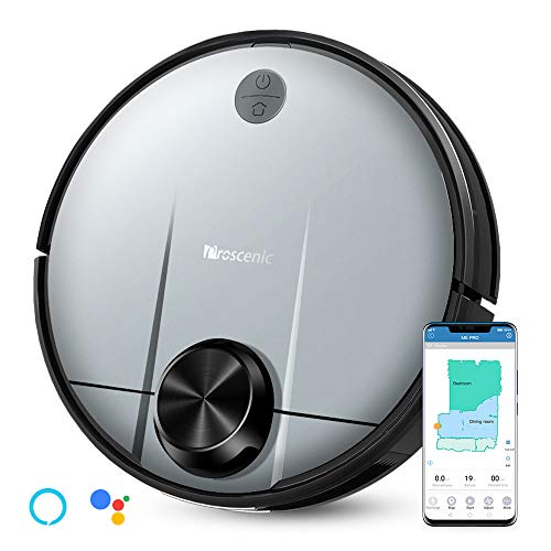 Proscenic M6 PRO Robot Aspirapolvere, con Tecnologia Navigazione Laser LDS, Robotino Lavapavimenti con APP & Alexa Contenitore 2-in-1 per Pulizia Domestica/Peli Animali/Capelli/Polvere/Lavapavimenti