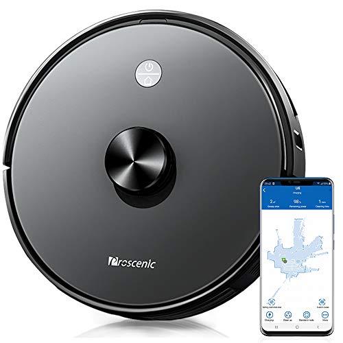Proscenic U6, Robot Aspirapolvere con Tecnologia Navigazione Laser LDS, Robotino App & Alexa, Serbatoio dell'Acqua Elettronica per Pulizia Domestica/Peli Animali/Capelli/Polvere/Lavapavimenti, Nero