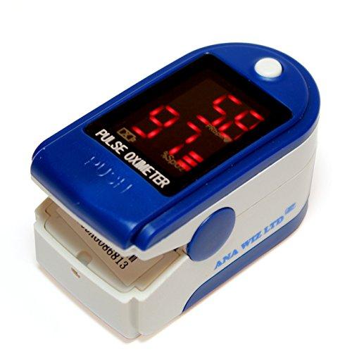 Pulsiossimetro da dito, con display LED, include custodia, batterie e cordino