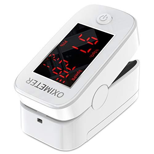 Pulsossimetro da Dito con Display a LED Monitor Cardiofrequenzimetro per la Casa e lo Sport, Mossimetro da dito saturimetro (Bianco)