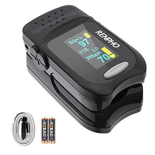 Pulsossimetro, RENPHO Monitor per la Saturazione Dell'ossigeno nel Sangue per l'indice di Perfusione Spo2 e la Frequenza del Polso con Display Digitale OLED, Cardiofrequenzimetro Portatile