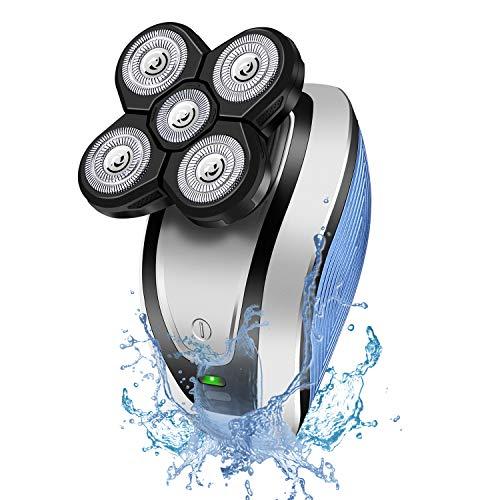 Rasoio Elettrico Uomo, Hangrui 5 in 1 Wet & Dry Rasoio Elettrico Barba Uomo Impermeabile USB Ricaricabile Rasoio Testa Calva, 5 Testine Rotanti per Capelli Barba Naso e Viso Pulito Grembiule da Barba