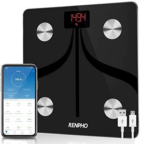 RENPHO Bilancia Bluetooth per Grasso Corporeo, Bilancia Digitale Intelligente IMC Bilancia Pesapersone Bagno, Ricarica USB Analisi Composizione Corporea con App