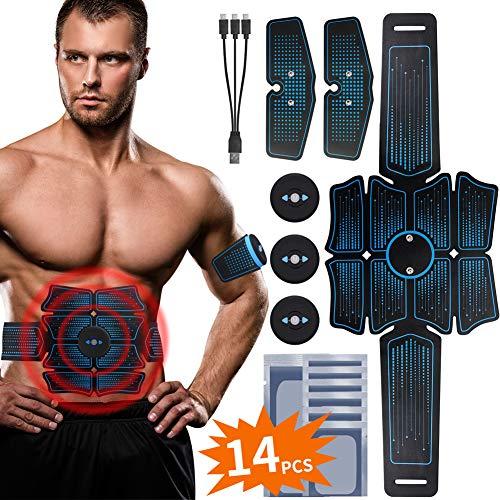 RIRGI Elettrostimolatore per Addominali, Elettrostimolatore Muscolare Professionale per Braccio/Gambe/Glutei, EMS con USB Ricaricabile … (Blu)