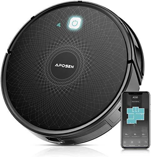 Robot Aspirapolvere, Aspirazione 2100Pa, Controllo con App /Alexa /Google Assistant /Telecomando, Autocaricante, Silenziosa, con Sistema di Filtraggio, Ideale per Pulizie Domestica