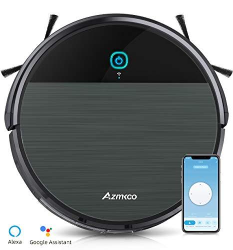 Robot Aspirapolvere, AZMKOO Aspirapolvere Robot Lavapavimenti Controllo con WiFi, App e Alexa, Aspirapolvere Lavapavimenti Senza Filo Ideale per Peli di Animali, Moquette e Pavimento Duro
