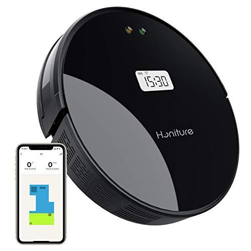 Robot Aspirapolvere Lavapavimenti,HONITURE Q5 WIFI Aspirapolvere Robot 2 in 1,Aspirapolvere e scopa con display a LCD,controllo con App e Alexa,ideale per pavimenti duri, utti i tipi di pavimenti