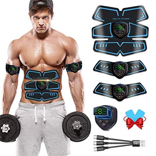 ROOTOK Elettrostimolatore per Addominali, Elettrostimolatore Muscolare, EMS Stimolatore Muscolare, ABS Trainer/Toner per Addome/Braccio/Gambe/Vita Home Gym per Uomo Donna