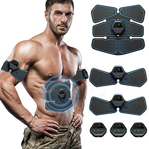 ROOTOK Elettrostimolatore per Addominali, Elettrostimolatore Muscolare Professionale per Braccio/Gambe/Glutei, EMS Stimolatore Addominale, USB Ricaricabile, 10 modalità e 20 Livelli di Intensità