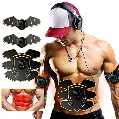 ROOTOK Elettrostimolatore per Addominali,Elettrostimolatore Muscolare Stimolatore Addominali Muscolare EMS Addominali Trainer Elettrico per Braccia