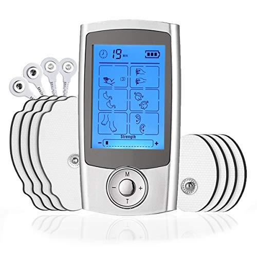 ROOTOK EMS elettrostimolatore Muscolare Professionale TENS Pulse Stimulator Il massaggiatore Che da Sollievo dal Dolore con 16 modalità,8 elettrodi e 2 canali A/B per e Il facilità del Dolore