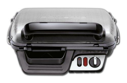 Rowenta GR3060 Ultra Compact Comfort - Bistecchiera con 3 Posizioni di Cottura, Facile da Pulire, Potenza 2000 W, Nero/Argento, 39 x 38 x 21