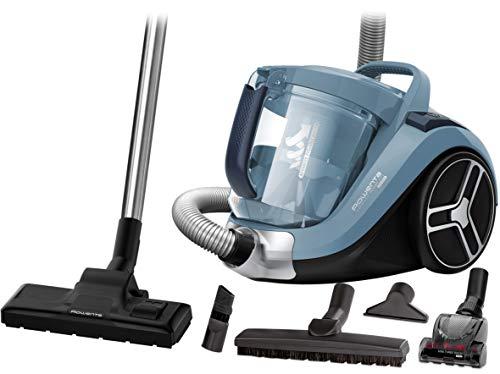 Rowenta RO4871 Aspirapolvere a Traino Senza Sacco, capacità Contenitore Polvere XXL, Tecnologia Ciclonica, Design Compatto, Animal Care Kit, 550 W, 75 Decibel, Azzurro Acqua