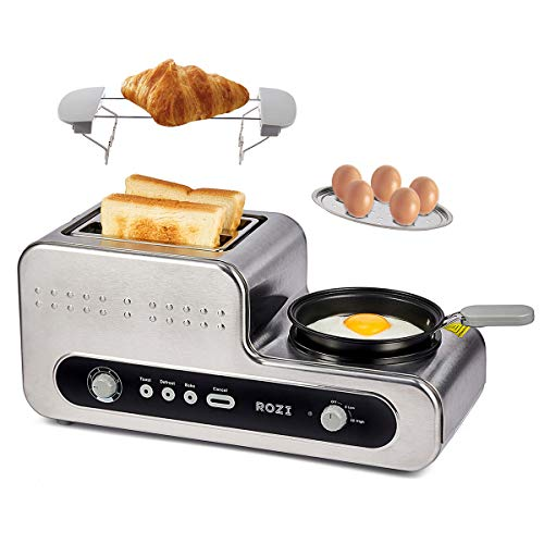 Rozi Tostapane 2 Fette Acciaio Inossidabile, Tostapane per Toast 6 Livelli, Tostapane 5 in 1 con Padella per Uovo Fritto/Uova Sode/Panino/Sandwich,1230W (Argento)